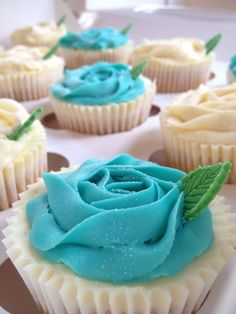 Royal Baby Blue and White Rose Cupcakes from sprinkledwithmagic.co.uk