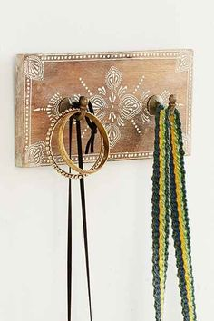 Hand-Painted Wooden Wall Hook: for bags, scarves ... $18 - UrbanOutfitters