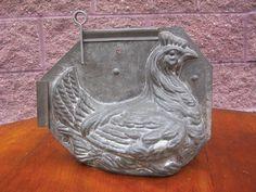 Antique Tin Chocolate mold large tin chiken hen mold 2