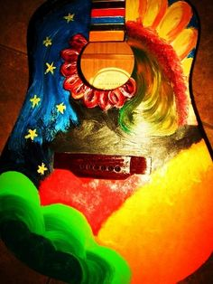 hand-painted guitar! Recycling at its best