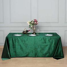 in Hunter Green Rectangular Premium Velvet Tablecloth Tablecloth Sizes, Tablecloth Fabric, Tablecloths, Green Wedding Decorations, Table Decorations, Christmas Decorations, Chair Covers, Table Covers