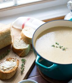 Roasted Garlic and Cauliflower Soup with Anchovy Buttered Toast