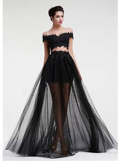 New Arrival Black Lace Prom Dress A Line Long Prom Gowns Custom Made Tulle Women Party Gowns - Long prom dresses Royal Blue Evening Dress, Royal Blue Prom Dresses, Gala Dresses, Black Wedding Dresses, Junior Dresses, Club Dresses, Bridal Dresses, 2 Piece Homecoming Dresses, Long Prom Gowns