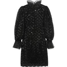 Dolce & Gabbana Sequined macramé lace mini dress ($880) ❤ liked on Polyvore featuring dresses, vestidos, black, mini, lace mini dress, black lace dress, black dress, short black cocktail dresses and black slip