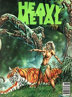 A selection of Heavy Metal Magazine covers from the 1970s.