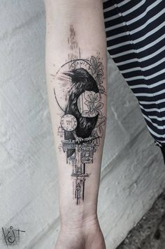 Raven forearm black tattoo by KOit, Berlin.