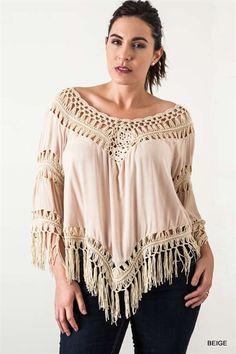 Crochet Knit Frayed Top - Beige - Curvy