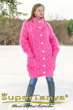 SUPERTANYA neon pink long mohair cardigan designer by supertanya