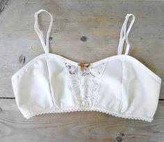 Organic cotton bralette  - natural white lace soft  bra - vintage style undergarment - vintage lace cotton bralette on Etsy, $72.47 CAD