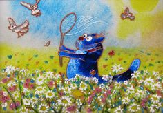 """Stained glass painting """"Blue cats. Cat on the meadow"""" (This is the prototype of…"""