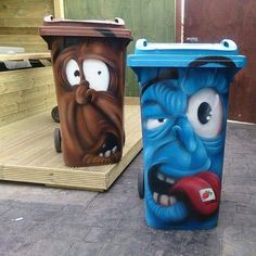 Creative garbage cans!