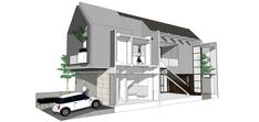 Little House Plans, Minimal House Design, Architectural Section, Architectural Presentation, Bungalow House Design, Up House, Facade Architecture, Facade House, House Layouts
