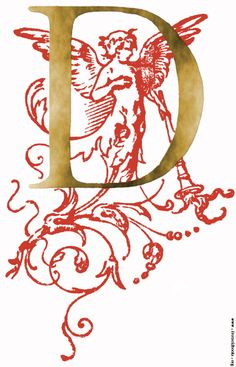 Decorative initial letter D, gold with red angel