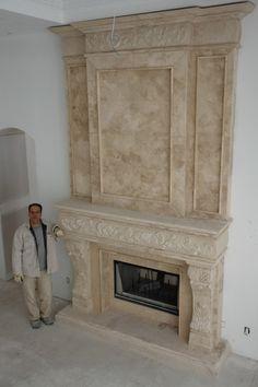 Cast Stone Fireplaces | Custom Size Mantels | living room ...