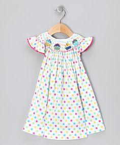 Smocked Sweets Rainbow Polka Dot Cupcake Dress