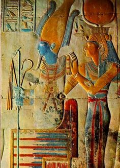 Osiris and Isis, tomb of Seti I at Abydos. 19th dynasty ~☆~The colours must have been bright and invigorating.