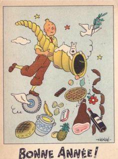 By Hergé, ca 1943, Bonne Année! (Happy New Year), Tintin et la corne d'abondance.