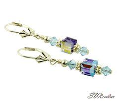 Tanzanite Sapphire Cube Crystal Earrings