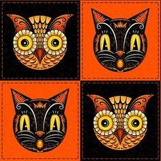Halloween Owl, Retro Halloween, Holidays Halloween, Beistle Halloween, Halloween Labels, Halloween Halloween, Halloween Black Cat, Halloween Pumpkins, Halloween Makeup