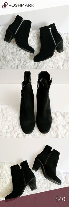"""Softwalk Fairhill Boots Black suede ankle boots with an outside and inside zipper. 3"""" stacked heel and synthetic rubber soles. Size 9.5. SoftWalk Shoes Ankle Boots & Booties"""