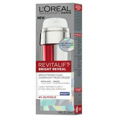 LOréal® Paris Revitalift® Bright Reveal Brightening Dual Overnight Moisturizer 1 oz : Target $18  And because it exfoliates with glycolic acid, brightens with vitamin C, and smoothes and tightens with a retinol complex, all at once, it's perfect for anyone who can't handle a multi-step routine.""