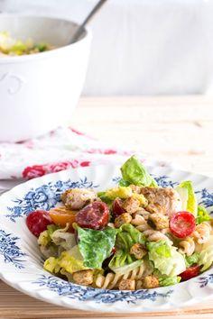 Lighter Chicken Caesar Pasta Salad | Try choosing darker greens i.e. spinach, collards or kale instead of lettuce.