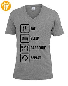 Eat Sleep Barbecue Repeat Funny Graphic Design Men's V-Neck T-shirt XX-Large (*Partner-Link)