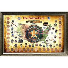 Major League Baseball Parks Map 20x32 Framed Collage w Game Used Dirt From 30 Parks - Astros Version