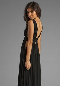 Indah Anjeli Empire Maxi Dress in Black $145