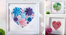 Návod krok za krokom na jednoduchú dekoráciu na stenu z papierových srdiečok, ktorá upúta svojou farebnosťou a tvárnosťou. Obrazy z papierových srdiečok. DIY nápad, papierové srdiečka, srdiečka na stenu, obraz, Valentín, darček, nápad pre deti