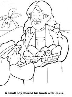 Jesus Feeds The 5000 Coloring Page Design Fed Home Bible Story Pages