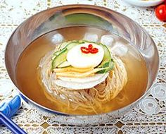 Naengmyun. This is so good during hot summer days. It's best if the broth is ice cold. I usually stick the broth in the freezer while I prepare the noodles.