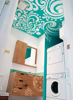 Turquoise Painted Ceiling: Could this bathroom BE more gorgeous? I didn't even notice the washer & dryer.