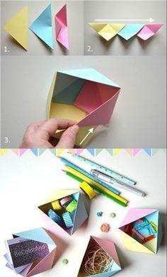 accessoires de bureau originaux réalisés en papier coloré, tuto origami rapide pour faire de petites boîtes géométriques façon vide poche