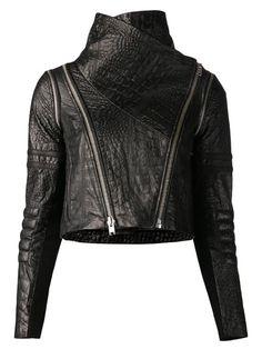 Yigal Azrouel Crocodile Effect Biker Jacket - Hirshleifers - Farfetch.com