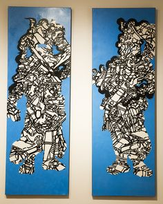 """Wishpunk: Agyo, mixed media, by Michael Nagara, $600 each or $1,000 diptych—from the """"Wish List"""" exhibition in the 117 Gallery at the Ann Arbor Art Center"""