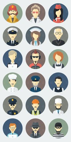 Face icons in a flat style on behance character flat, flat illustration, graphic design People Illustration, Flat Illustration, Character Illustration, Graphic Design Illustration, Flat Design Icons, Icon Design, Design Design, Flat Icons, Vector Design