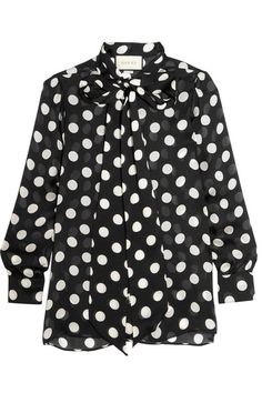 Gucci - Pussy-bow Polka-dot Silk-chiffon Blouse - Black - IT