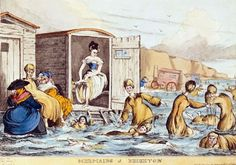 "Ch 29.2 ""Did you go sea bathing?"" he politely enquired. ""Oh heavens, no!"" replied Georgiana, quite shocked. ""But we did go for several strolls along the promenade. It was most invigorating!"" This pic - Sea Bathing for the genteel in the Regency Period. Ladies were loaded into closed carts which were backed into the sea by horses. These functioned partly as dressing sheds. Once in position, the horses were unhitched, leaving the sheds as a refuge."