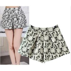 Beige Sexy Womens Shorts with Embroidery Elegant Autumn Ruffled Shorts for Ladies Cotton Material Floral Print Design Hot Sale ASW-002, $20.24 | DHgate.com