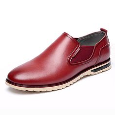 Men Retro Pointed Toe Elastic Panels Casual Slip On Dress Shoes