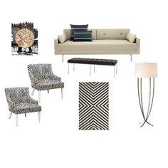 Black and white modern living room concept