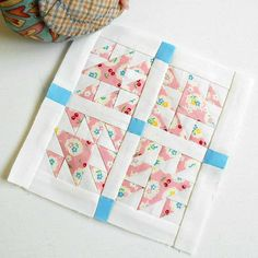 "Block 10 - Doves in the Daylight. Block 2 from The Quilters' Planner 2017 reduced to 6"" (from 12"")"
