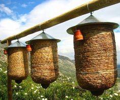 skeps hanging on structures