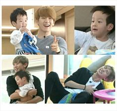 Return of Superman releases stills of EXO's Chanyeol and Baekhyun on a playdate with the twins Park Chanyeol, Exo Chanbaek, Chanyeol Baekhyun, Exo K, Korean Babies, Wattpad, Exo Members, Fan Fiction, G Dragon