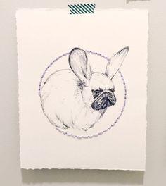 Pug Bunny Illustration with hand embroidered hand by LimbTrim Animal Art Pug Art Dog Art Art for home Cute pug