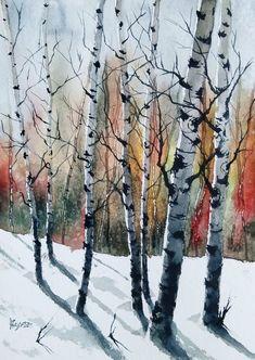 -Painted on artist quality acid-free 140 lb. Birch Trees Painting, Tree Watercolor Painting, Birch Tree Art, Painting Prints, Landscape Sketch, Landscape Drawings, Watercolor Landscape, Landscape Art, Landscape Paintings