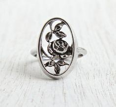 Vintage Flower Ring - Retro Rose 1970s Adjustable Signed Avon Silver Tone Filigree Floral Ring / Rosamonde by Maejean Vintage on Etsy, $15.00