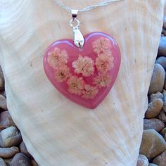 Handmade Pink Florida Wildflower Heart Pendant Necklace with