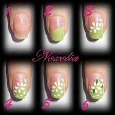Daisy step by step nail art
